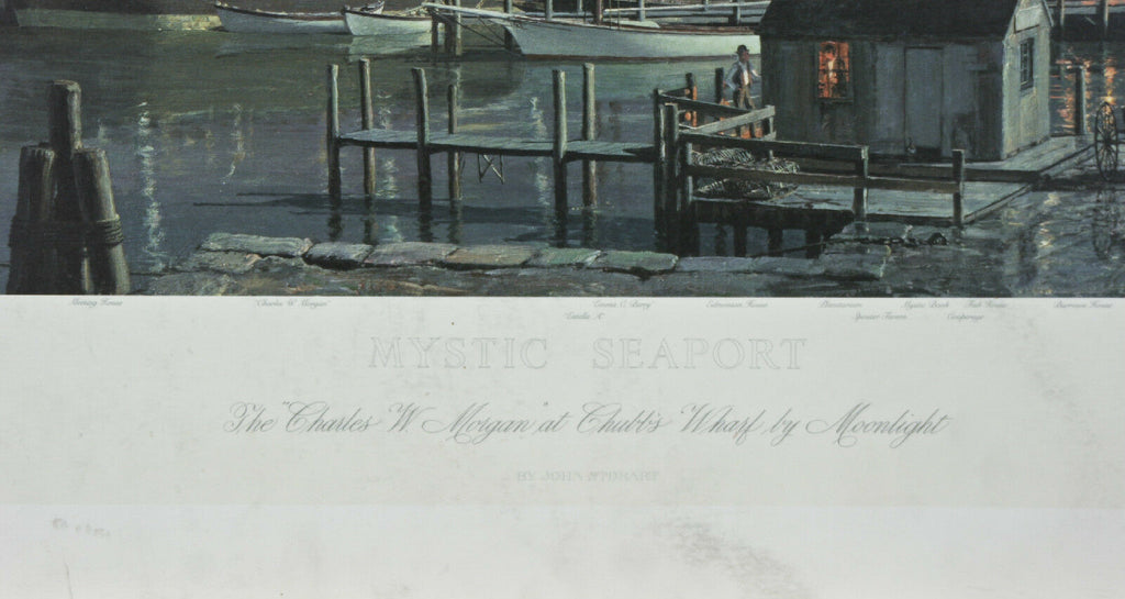 """Mystic Seaport- Charles W. Morgan at Chubb's Wharf"" By John Stobart Print"