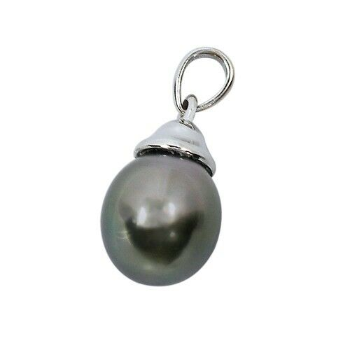 14k White Gold Tahitian Cultured Pearl Drop Pendant Retail Value = $500