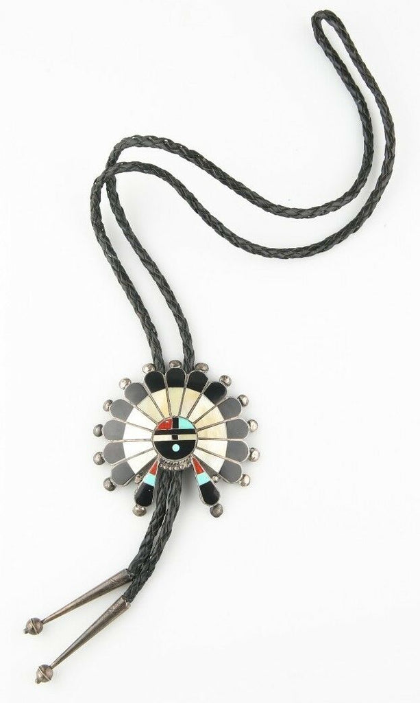 "Vintage Silver Zuni Navajo Sunface Lapidary Inlay Bolo Tie Signed ""TPB"" Leather"