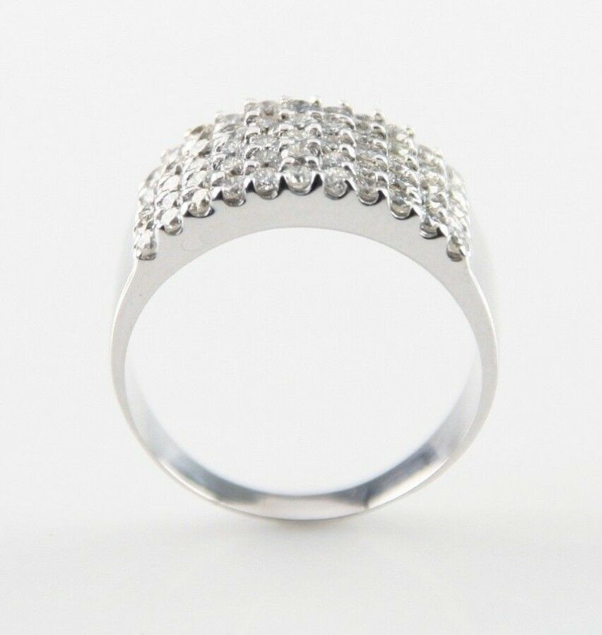 14k White Gold Prong-Set Round Diamond Plaque Ring TDW = 1.75 ct Size 7.5