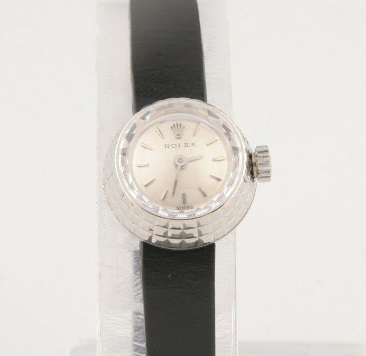 Rolex Women's Modele Depose #1401 18k Watch Cameleon Leather Band 1950's