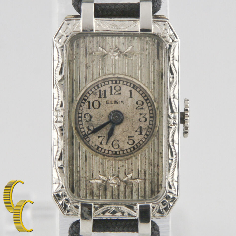 Elgin 14k White Gold Vintage Women's Hand-Winding Art Deco Watch w/ Silk Band