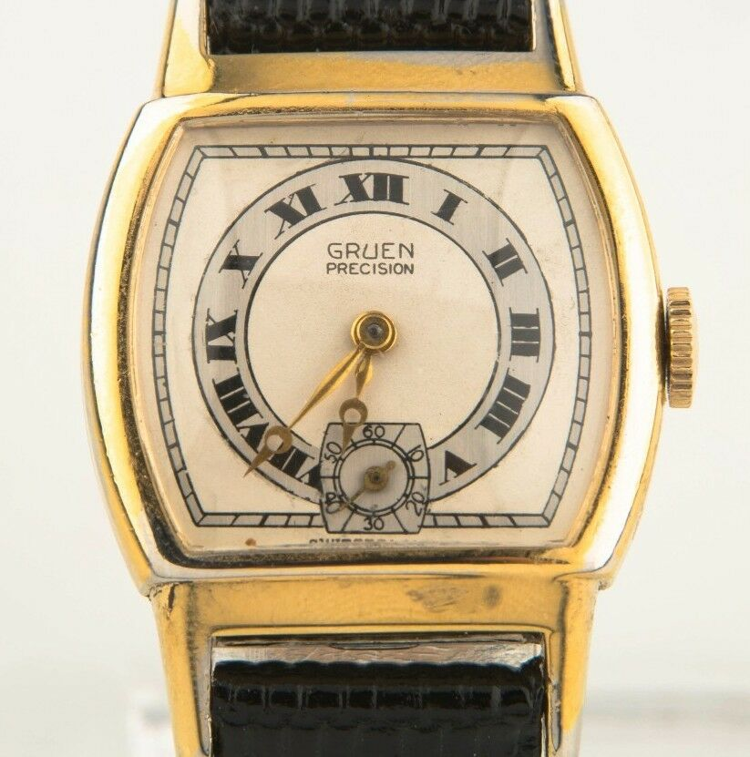 Vintage Women's Gruen Gold-Plated Hand-Winding Art Deco Watch w/ Leather Strap