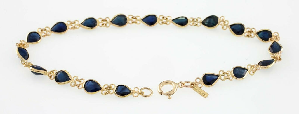 Gorgeous 14k Yellow Gold Pear Sapphire Bracelet TCW 3 ct 6.75""