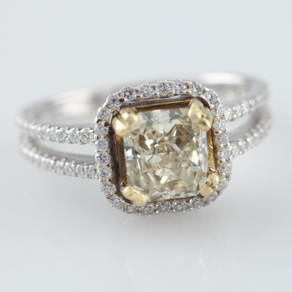 Fancy Yellow Diamond Solitaire 18k Two Tone Gold Ring Size 6.5