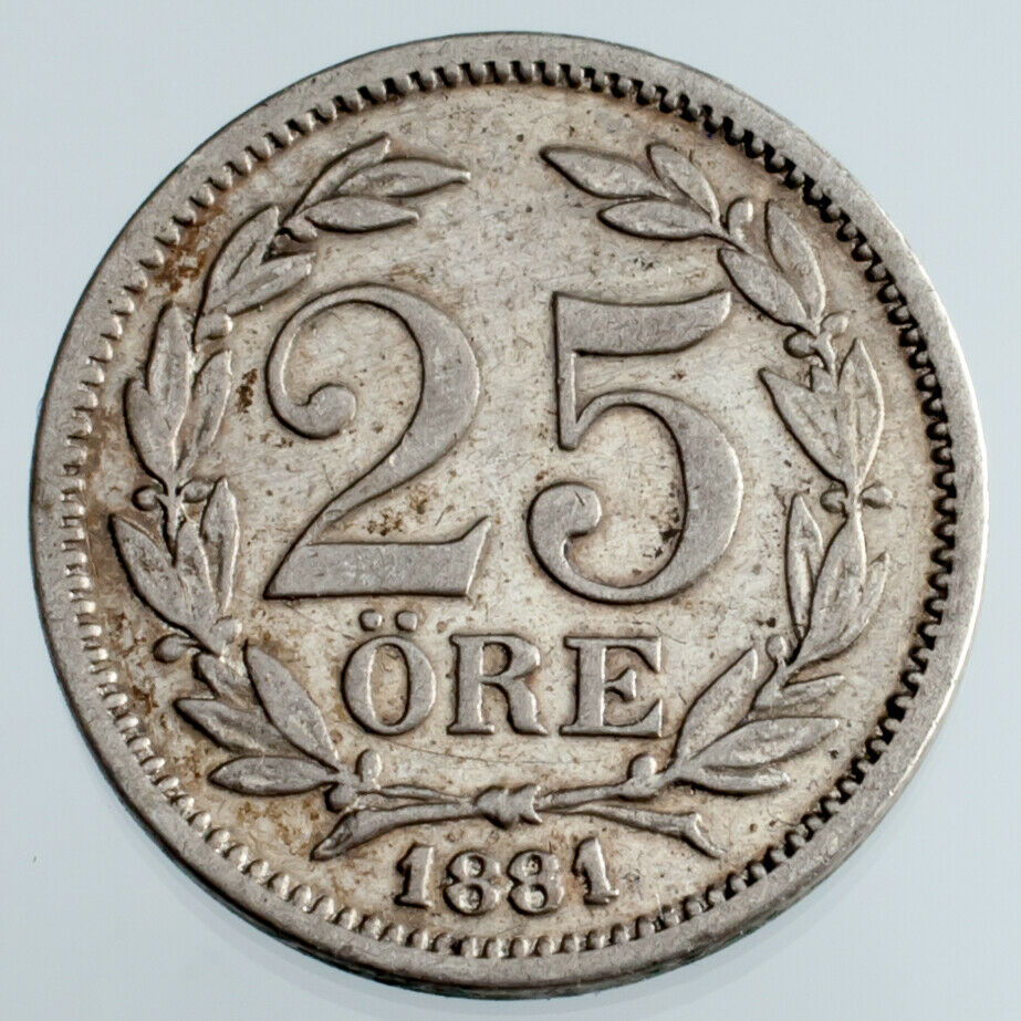 1881-EB Sweden 25 Ore Silver Coin in XF Condition KM #739