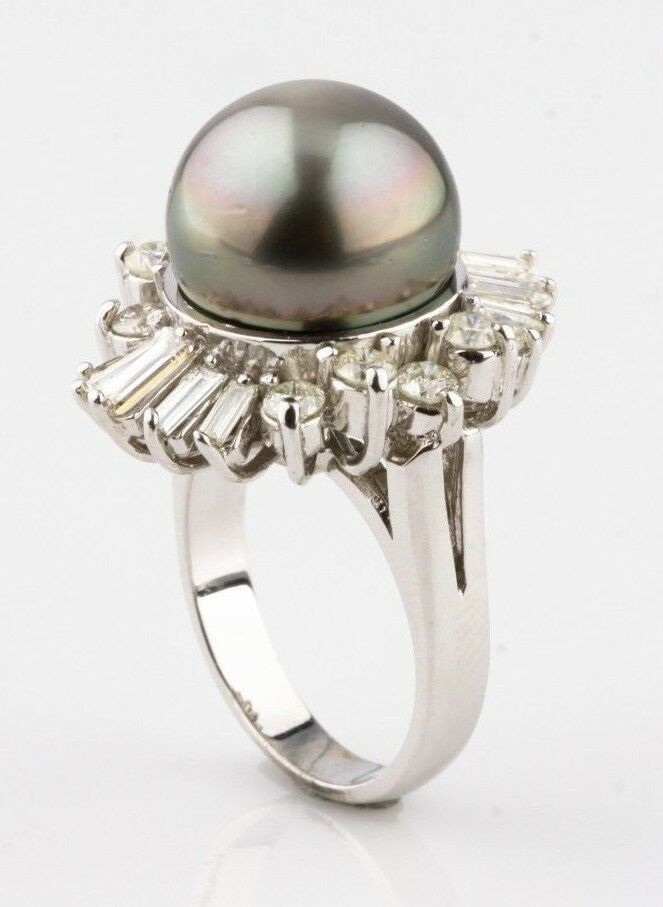 Tahitian Pearl & Diamond 14k White Gold Ladies Ring Size 6 w/ Cert