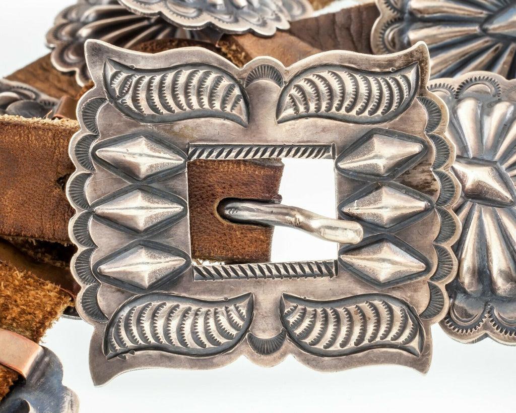 Unsigned Silver Concho Belt w/ 12 Silver Sunburst Elements Nice Patina!