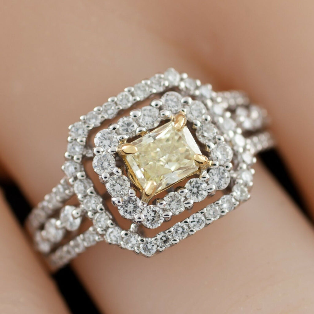 Fancy Yellow Radiant Diamond 18k Two Tone Gold Halo Ring Size 6.5