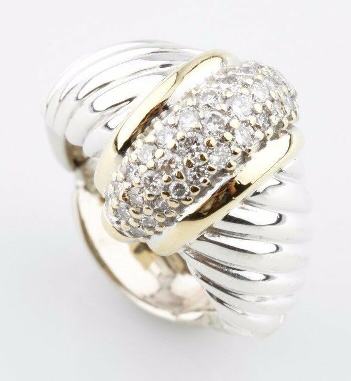 14K Two-Tone Cable Twist Style Ring With Round Pave Diamonds TDW = .5 ct Sz 4.25