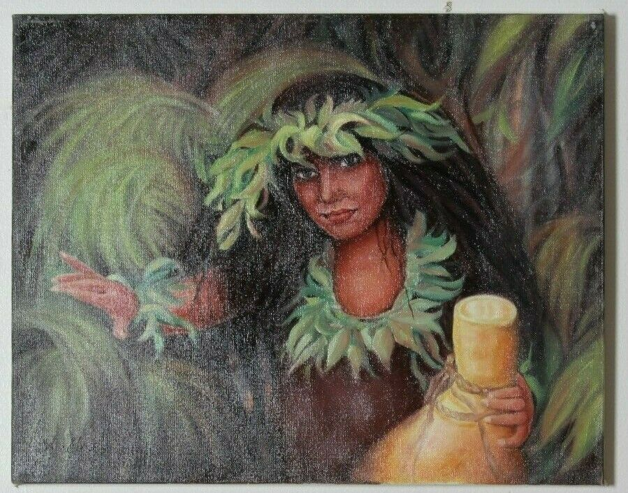 Untitled (Polynesian Woman w/ Drum) By Anthony Sidoni 2001 Signed Oil on Canvas