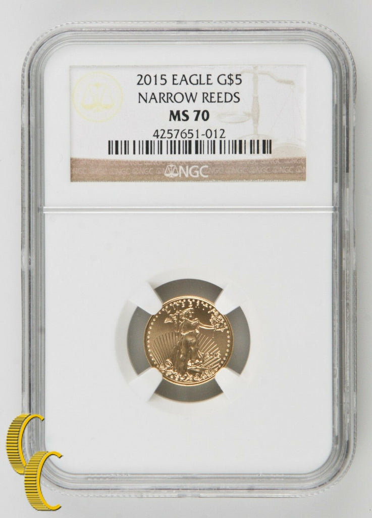 2015 $5 Gold 1/10 oz American Eagle Coin Narrow Reeds NGC MS-70 .900