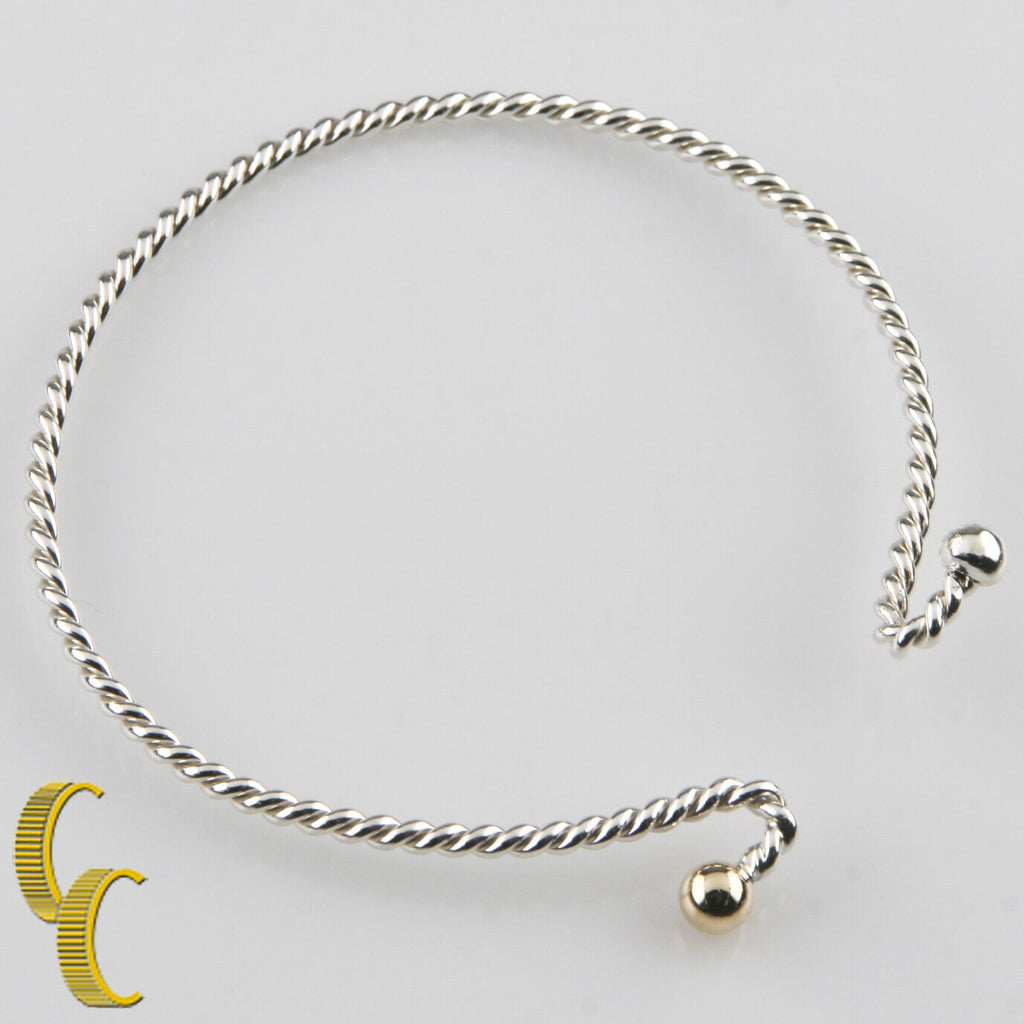 Sterling Silver and 14K Yellow Gold Spiral Cable Bracelet 6.25""