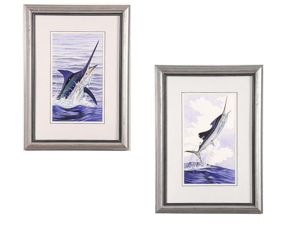 "Guy Harvey Lot of 2 Framed Watercolor Marlin Paintings, Signed in Ink, 19"" x 14"""