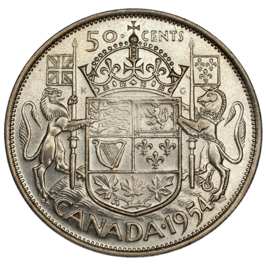 Canada 1954 Silver 50C Coin Uncirculated Condition KM #53