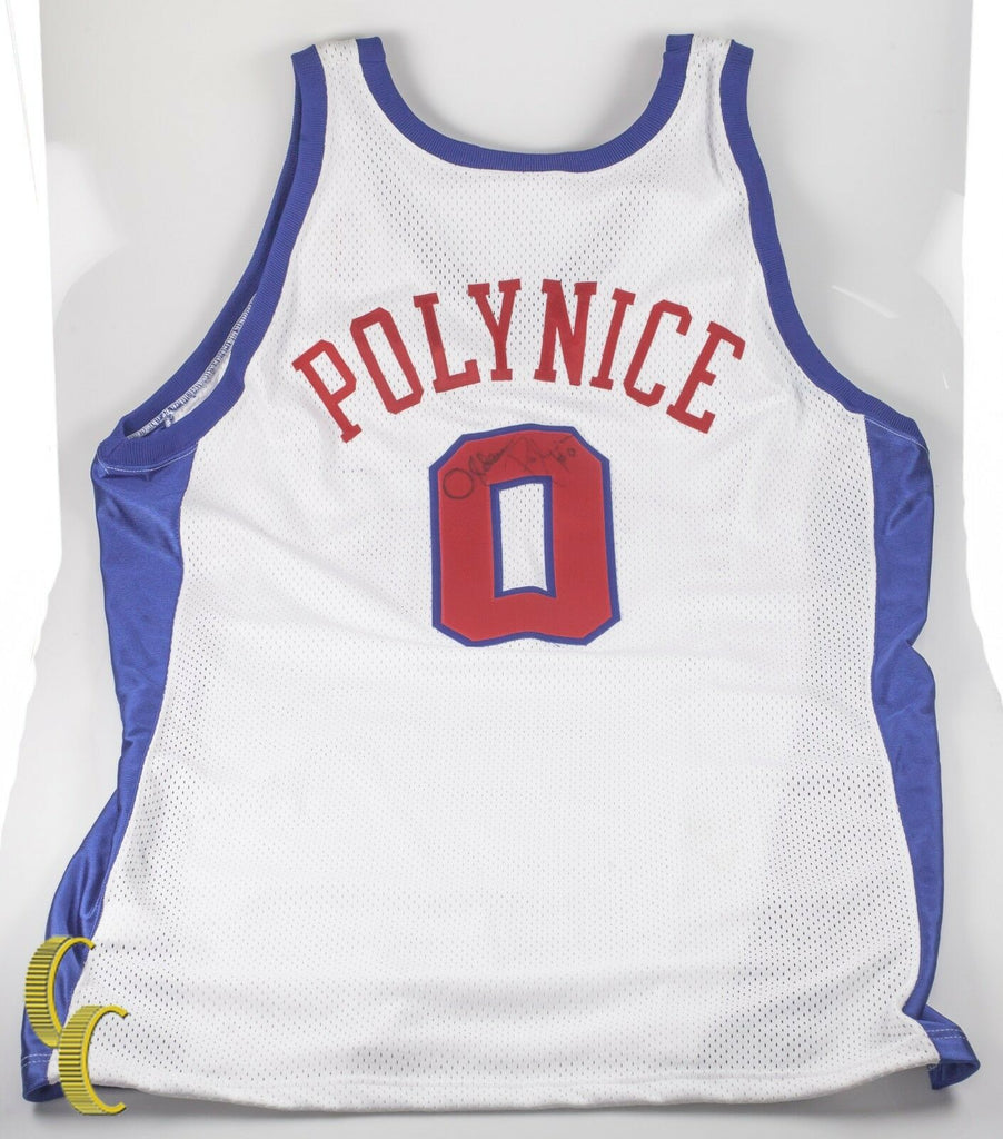 White Los Angeles Clippers Jersey Signed by Olden Polynice (#0) Great Condition!