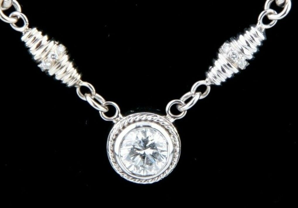 1.00 carat Round Diamond Solitaire 18k White Gold Pendant Necklace 16 inches