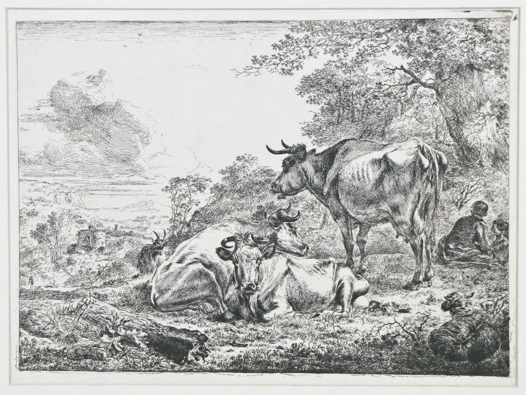 """Three Resting Cows"" By Nicholaes Berchem Etching on Paper 7""x9 1/2"""