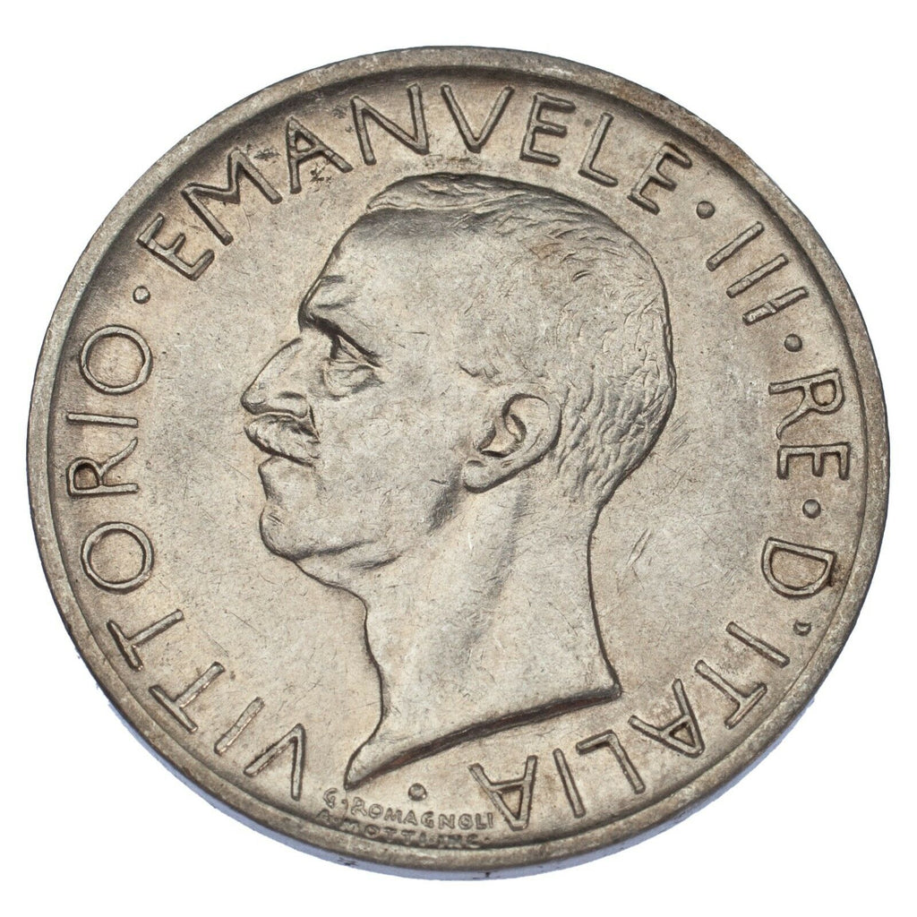 1927-R Italy Silver 5 Lire in AU Condition KM #67.2