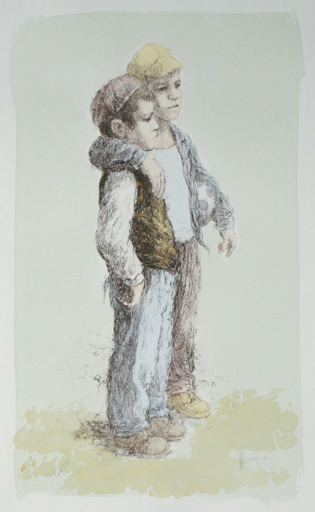 """Soccer Player"" by William Weintraub Signed Artist's Proof AP Hand Colored Litho"