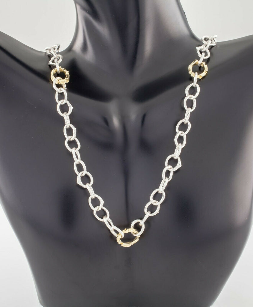 K. Brunini Sterling Silver and 18k Gold Twig Loop Chain Necklace 23""