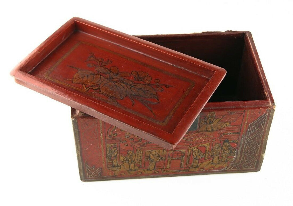 Antique Chinese Red & Gold Lacquer Wooden Box Hand-Painted Qing Dynasty w/ CoA