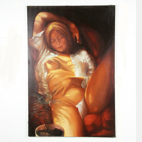 "Untitled (Nude Woman Napping) By Anthony Sidoni Signed Oil on Canvas 36""x24"""