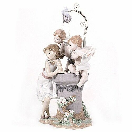 "Lladro #1882 ""May My Wish Come True"" Young Girl at Wishing Well Rare! Retired!"