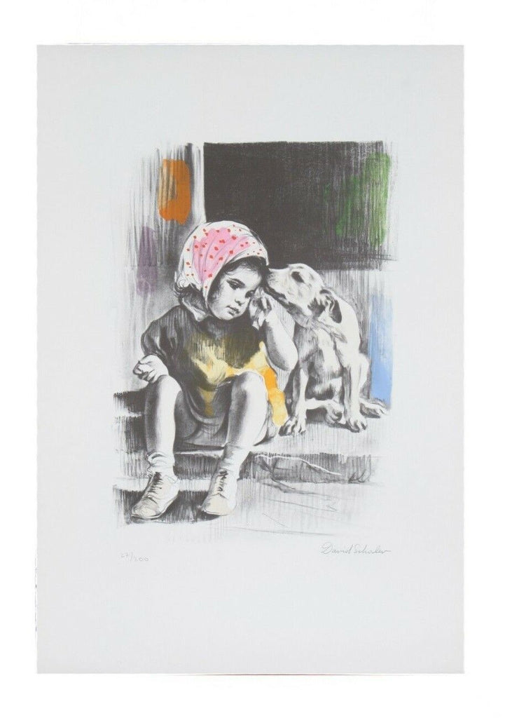 """Me and My Puppy"" by David Shalev Hand-Colored Lithograph on Paper LE of 200 CoA"