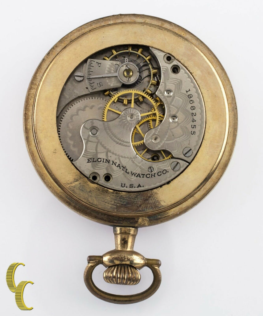 Yellow Gold Filled Elgin Open Face Pocket Watch 7 Jewel Size 6 1916