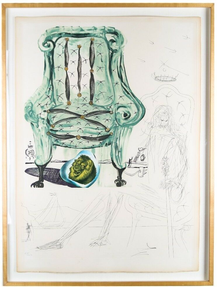 """Breathing Pneumatic Armchair"" by Salvador Dali Lithograph & Hand-Etched 68/250"