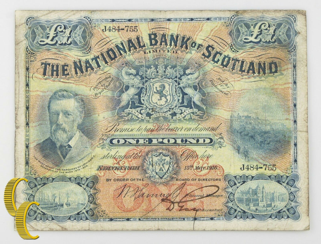 1916 Scotland £1 Pound Note (Fine, F) National Bank of Scotland Limited P#248a