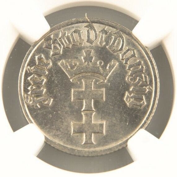 1932 Danzig 1/2 Gulden Nickel Coin MS-62 NGC Gdansk Poland Free City KM-153