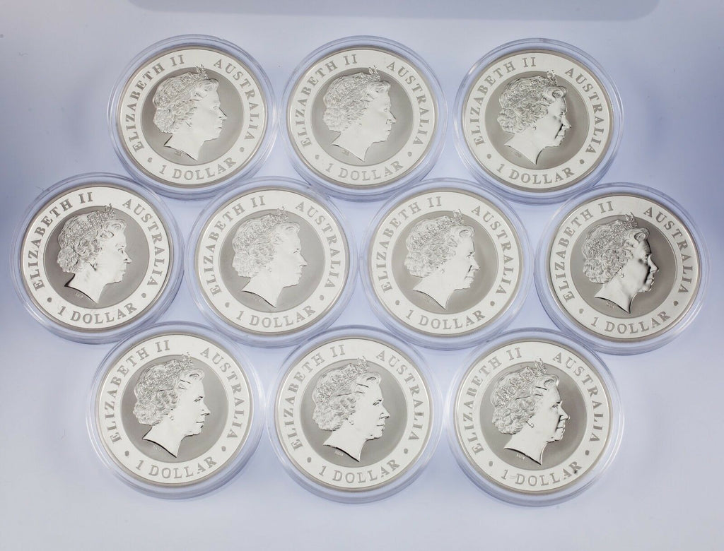 Lot of 10 2012 Australia $1 Silver 1oz Koala (BU Condition) in Capsules KM# 1840