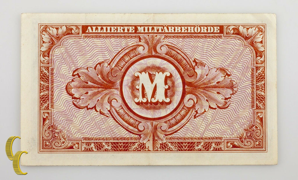 1944 Germany Post WWII Allied Military Currency 10 Mark (VF+) Condition