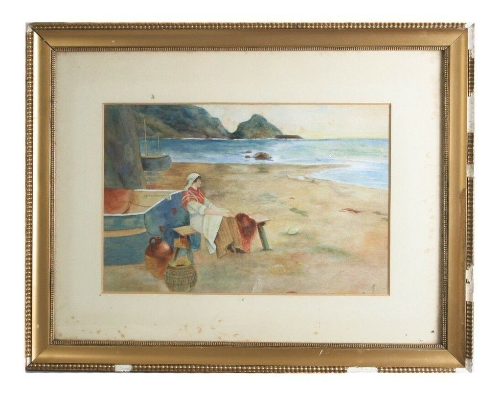 "Untitled Watercolor Woman on Seashore Unknown Artist 18"" x 23"" Gorgeous Piece!"