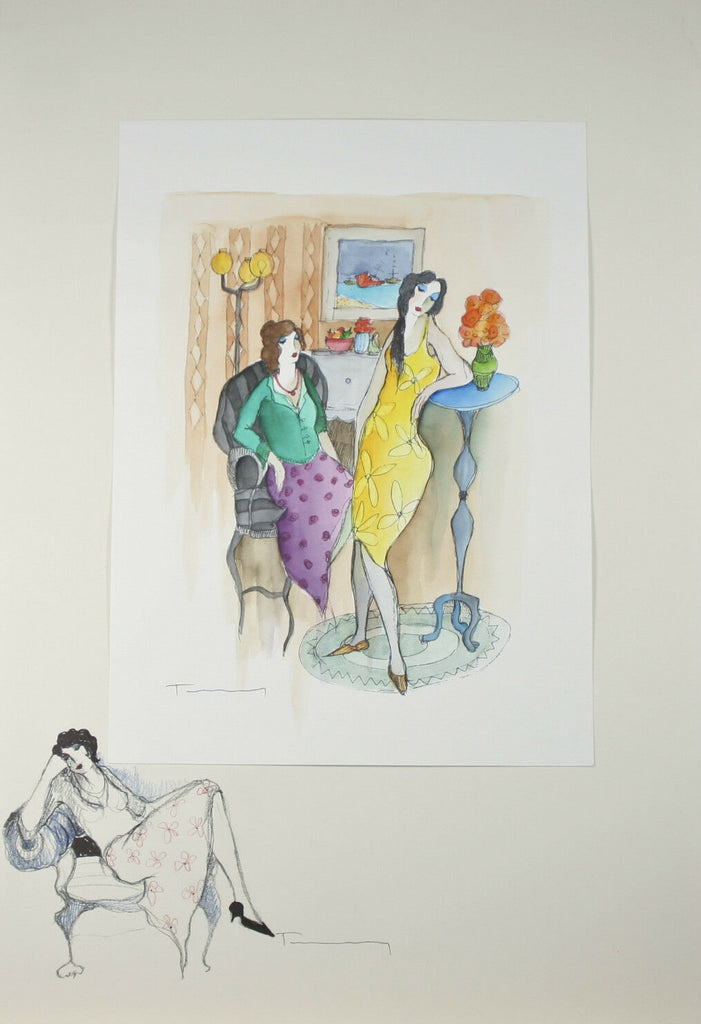 """En Repos"" By Itzchak Tarkay Signed Original Watercolor and Pencil"