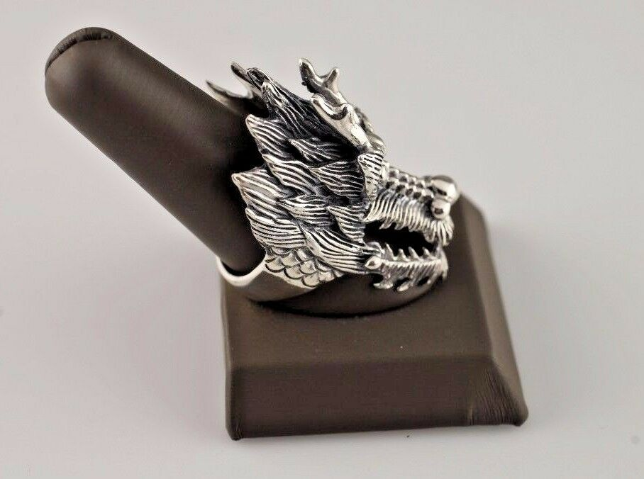 LARGE .925 STERLING SILVER DRAGON HEAD/FACE RING