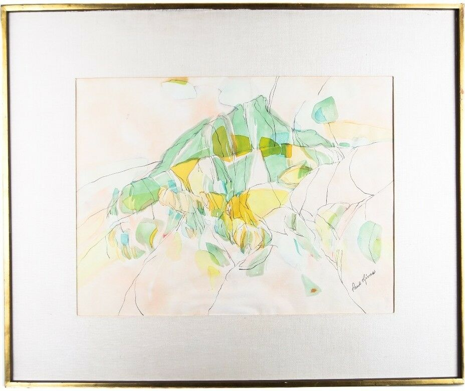 "Untitled (Abstract Watercolor) by Paul Rivas, Signed & Framed, 28.5"" x 34.5"""