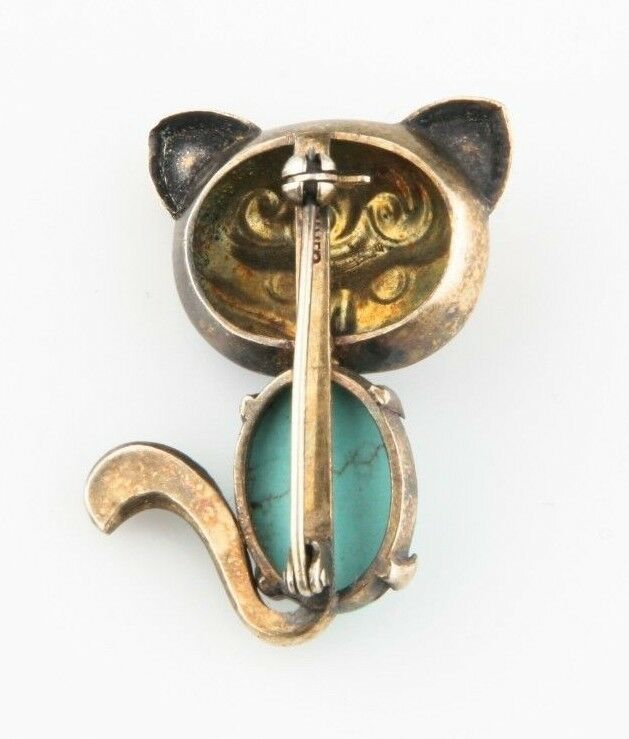 Vintage Silver Cat Enamel & Turquoise Brooch Nice Toning Great Condition!