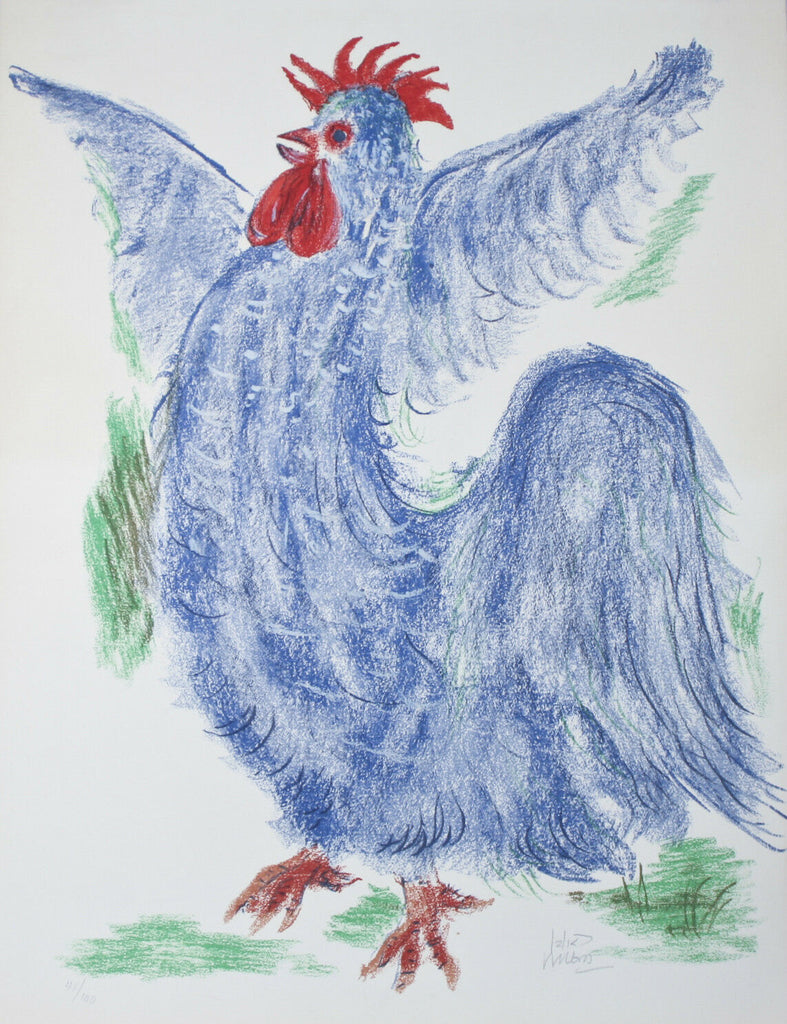 """Rooster"" By Reuven Rubin Signed Limited Edition #41/100 Lithograph on Paper"