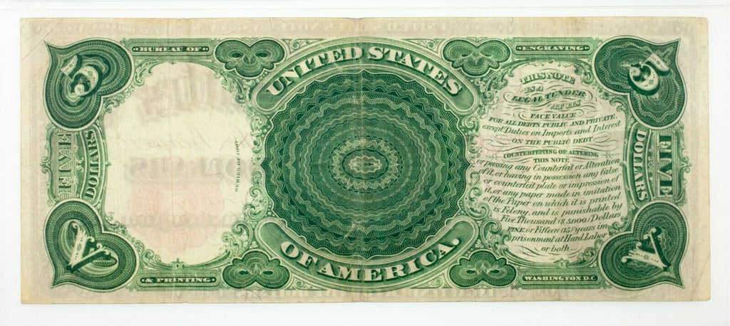 1907 $5 United States Note Fr #91 Graded by PMG as Very Fine 30 EPQ