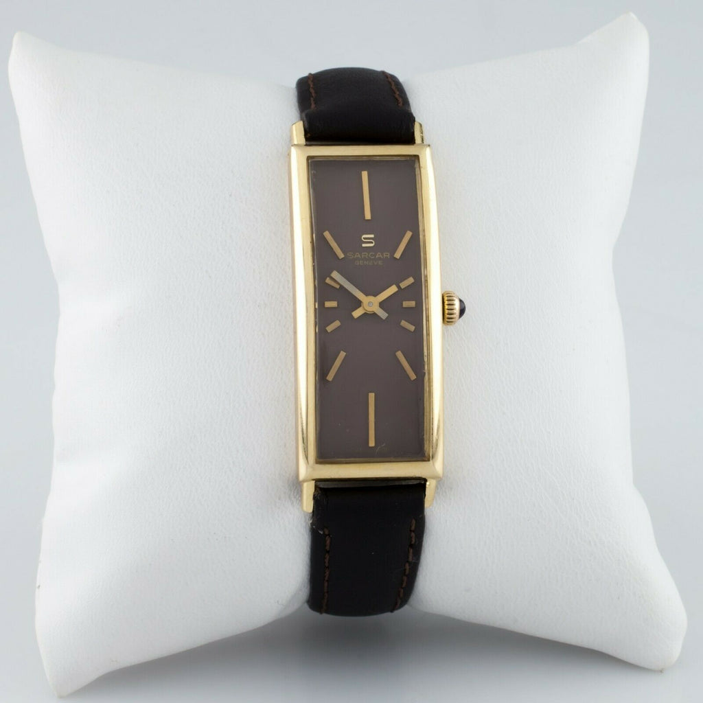 Sarcar 18k Yellow Gold Hand-Winding Women's Dress Watch w/ Leather Band