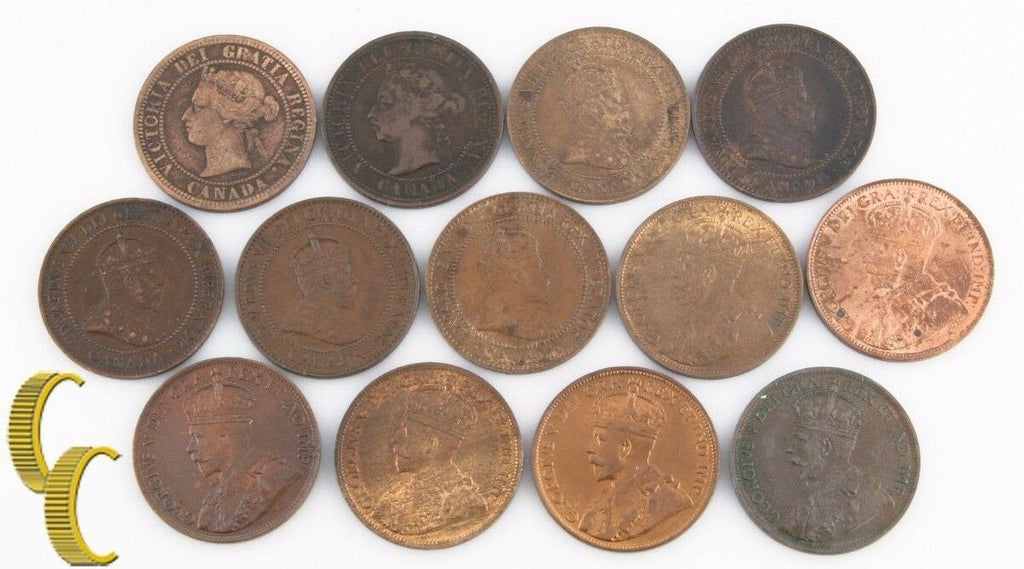 1881-1917 Canada 1 Cent Lot (F-BU, 13 coins) Large Penny One 1c KM-7 8 21