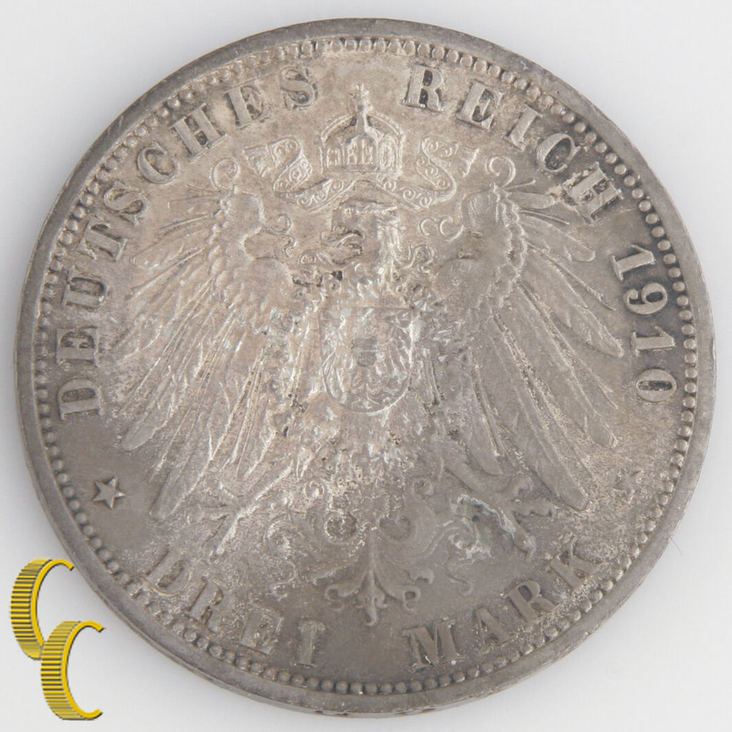 1910-A German States Prussia 3 Mark (Uncirculated, UNC) Wilhelm II Silver KM#527