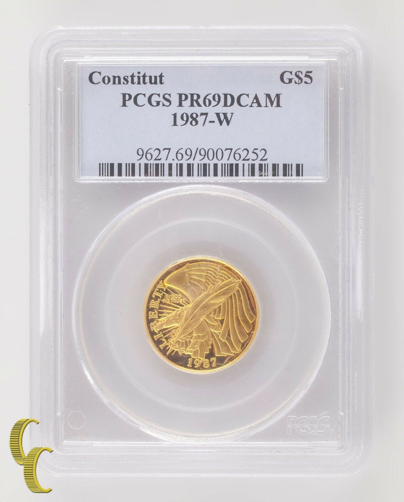 1987-W G$5 Constitution Gold Commemorative Graded by PCGS as PR-69 DCAM