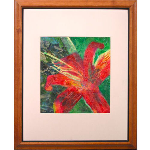 """Red Bloom"" by Susan Soffer Cohn Framed Mixed Media on Canvas 22.5"" x 18.75"""