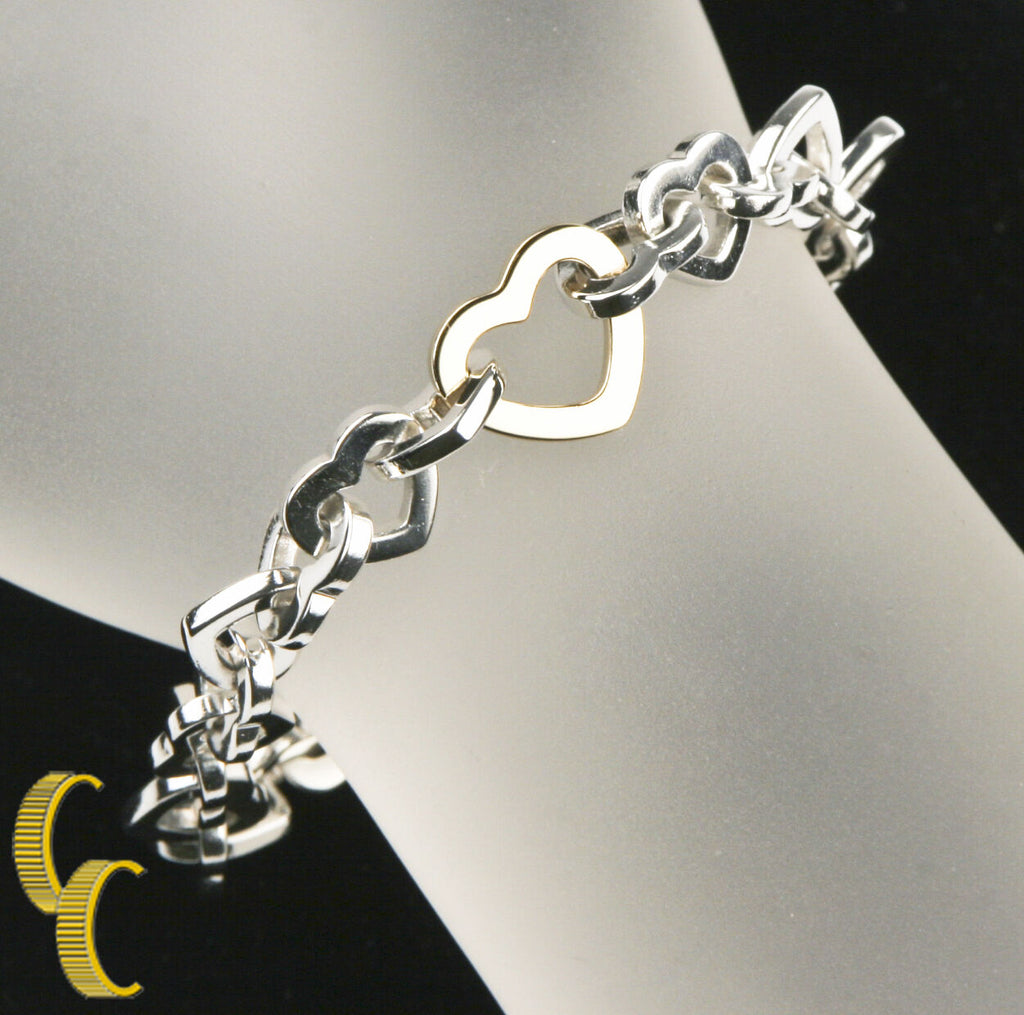 Tiffany & Co. 18k Yellow Gold and Sterling Silver Heart Link Bracelet 7.5""