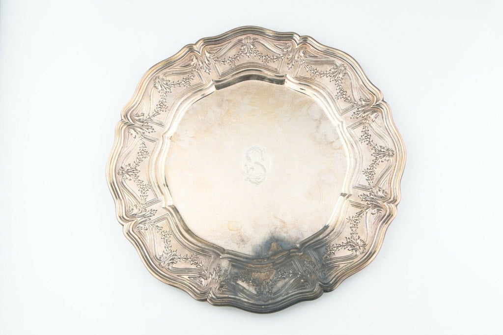 "William B Durgin Sterling Silver Serving Dish CD Peacock 11"" (486g) Model A1822P"