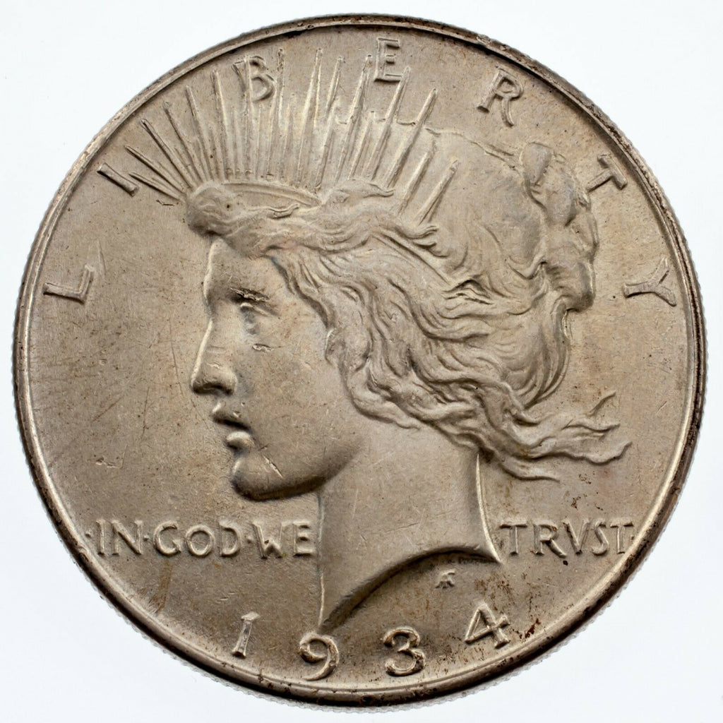 1934 $1 Silver Peace Dollar in BU Condition, Excellent Eye Appeal, Full Luster